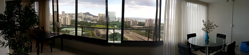Hawaii panorama from condo interior